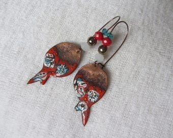 stylized Oriental fish earrings / ethnic red enameled copper flowers in white and turquoise glass beads