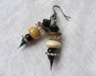 Chic and ethnic in beige and black dangle earrings with charm drop Lampwork Glass rondelles handcrafted and Czech glass bicone