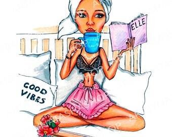 Morning girl print