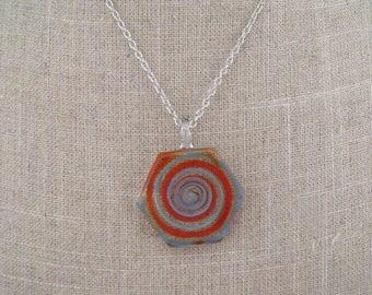 CLEARANCE orange transparent blue glass pendant necklace