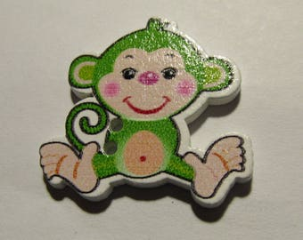 wooden monkey 28mmx29mm scrapbooking various color choices