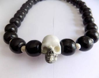 Necklace skull beads Jasper and black wooden beads