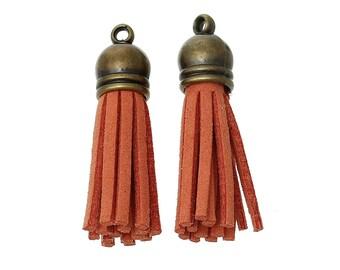 14 brick suede tassels on 1 3.9 cm with brass cap