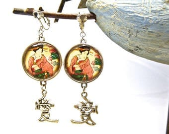 Asian Theme cabochon clip earrings set