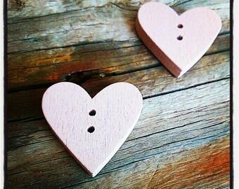 button heart sewing wooden beige 2.3 cm x 2.4 cm x 4 mm