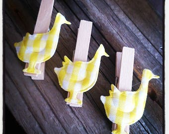 set of 3 clothespins wooden ducks