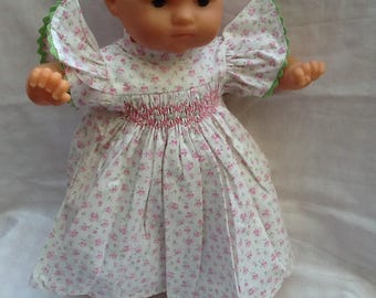 Doll clothes dress has smocking pink flowers, green croquet doll 36 cm