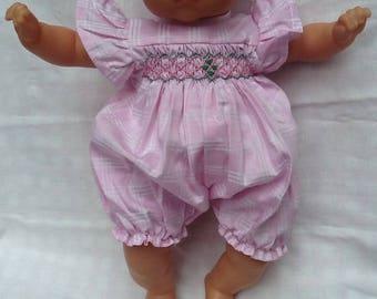 Pink & white Plaid cotton romper has smocking doll 36 cm