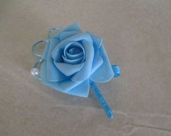 Brooch-wedding - turquoise blue boutonniere
