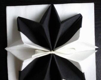 Black and White Snowflake shaped napkin folding