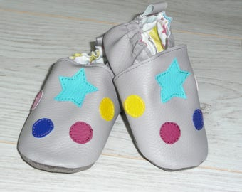 Cozy slippers grey star and multicolored polka dots