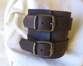 Handmade rustic leather strength wide bracelet