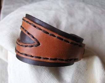 Handmade orange-brown leather bracelet