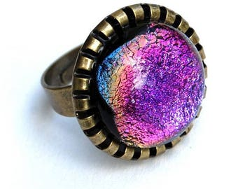 Round ring in pink, purple, technique of fusing - Dichroic Glass Adjustable ring