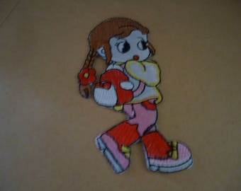 PATCH FUSIBLE - Girl with braid - height 11 cm