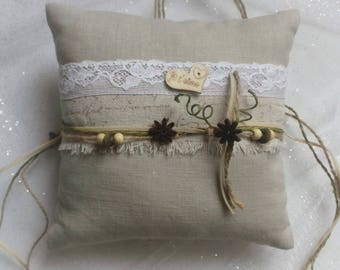 Pillow ring bearer wedding linen and cotton, writing, cotton lace and Ribbon strings