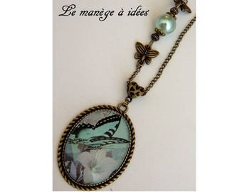"""""""My Butterfly""""metal bronze cabochon pendant NECKLACE"""
