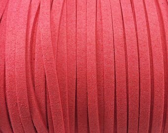 1 meter wide 5 mm red suede cord