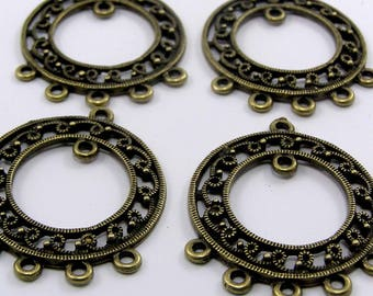 Set of 2 chandelier connectors bronze 37.5 x 30 mm