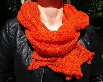 Wool scarf, Shawl, Long, Soft, Orange, Cozy, Luxurious, Homemade, Classic design, Worm, Elegant, Wool knit, Wool, Gift for her, Knitted
