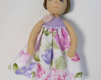 deco Doll House girl in cold porcelain and fabric