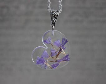 Necklace 62 cm + pendant 3 cm including rare purple dried flowers and resin heart
