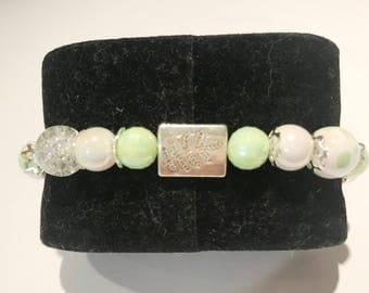 Beaded fancy pale green and white