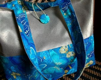 Gold canvas tote, blue and yellow butterflies