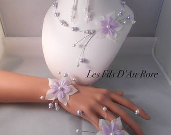 Set 4 pieces CELENA peaks, bracelet & earrings in purple & white necklace