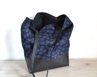 Tote bag, handbag fabric Japanese spirals