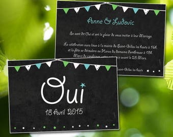 Original, customize wedding invitation. Vintage wedding invitation. Announcement slate, flags. Ex shipping included.