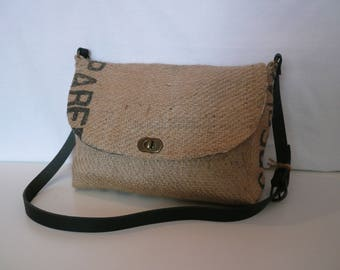 Handbag // burlap // shoulder bag // coffee bag // recycled