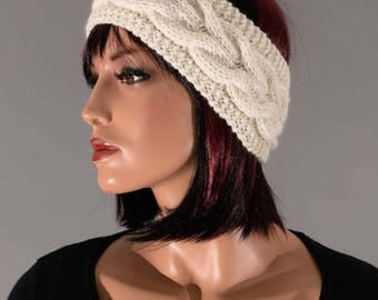 Hand knitted headband, ear-warmer, headband, wool, white, with cables
