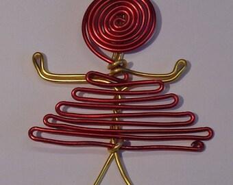 Golden red aluminum pendant