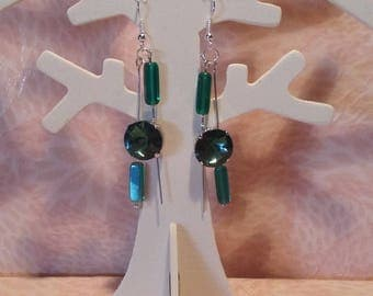 Earrings - asymmetrical emeralds