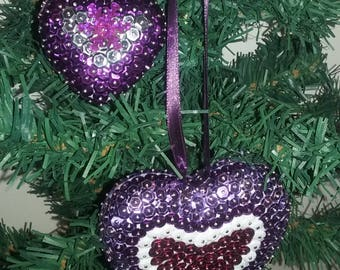 Christmas sequin hearts - purple and silver