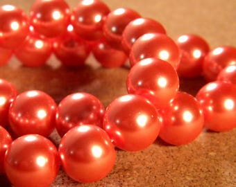 20 iridescent 12 mm - orange PE195 2 Pearl glass beads