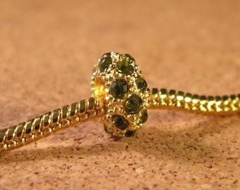GOLD plated rhinestone charms bead - olive green - 11 x 6 mm B16