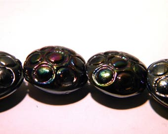 2 large glass lampwork-21 mm - black iridescent - F85-4 beads