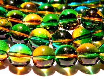10 beads-glass 12 mm - translucent 2 tones - green and amber-PG133-4
