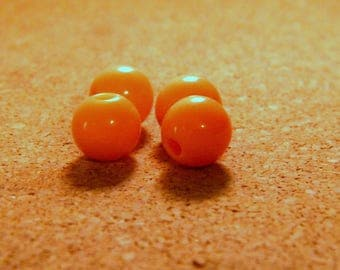 20 Acrylic beads 10 mm - orange - PE257