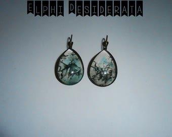 """Earring """"fish eye of dragon"""" in Japanese, zen style drop cabochon"""