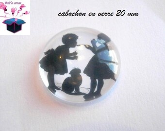1 black theme silhouette 20mm domed glass cabochon