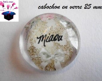 1 cabochon clear 25 mm theme cat Meow