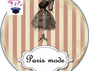 1 cabochon clear 25 mm Paris fashion theme
