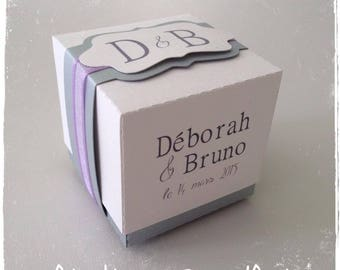 Box dragees wedding cube two-tone white and lilac (purple)