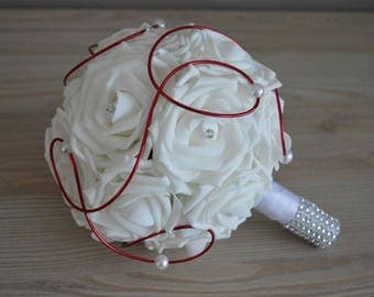 Bridal bouquet: pink, white, red aluminum wire, pearls and rhinestones