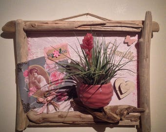 Frame romantic Driftwood plant holder