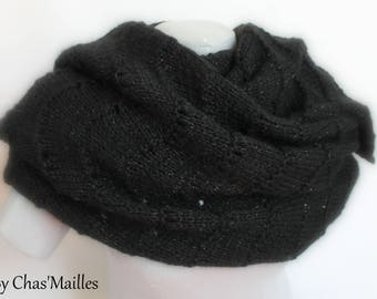 black and silver hand knitted women shawl openwork