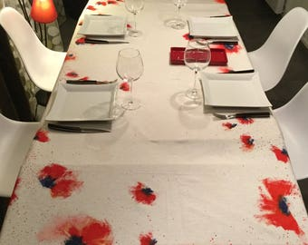 Tablecloth white motif hand painted poppies